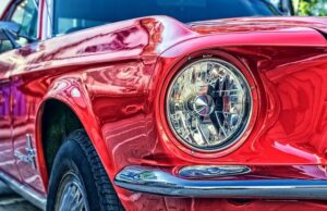 Red Ford Mustang Close Up